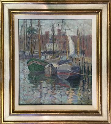 "Bertha Walker Glass Oil on Canvas ""Gloucester Dock Scene"""