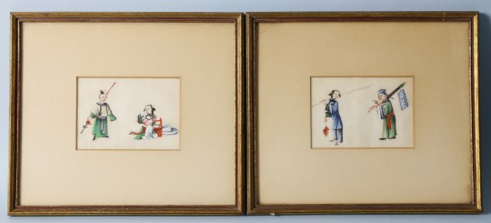Pair of 19th Century Chinese Watercolors on Pith Paper