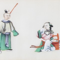 Pair of 19th Century Chinese Export Watercolors on Pith Paper
