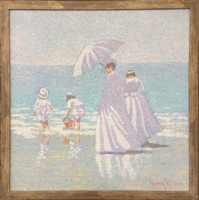 """Oil on Canvas """"Women and Children at the Beach"""""""