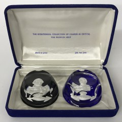 Set of Ten Franklin Mint Bicentennial Collection Cameos in Crystal