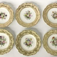 Six Coalport Hand Painted Floral Porcelain Luncheon Plates