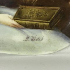 "19th Century Oil on Porcelain ""Portrait of a Lady"""