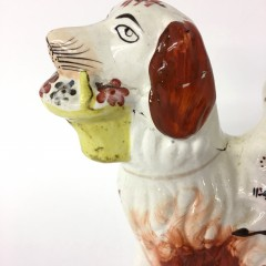 19th Century Staffordshire Figure of a Woman Riding a Dog