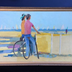 """American School Oil on Canvas """"A Day at the Beach"""