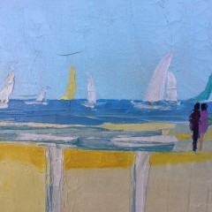 """American School Oil on Canvas """"A Day at the Beach"""""""