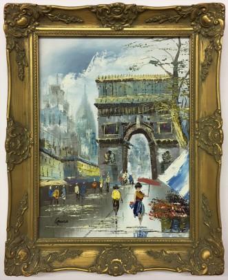 "Contemporary Oil on Canvas ""Paris Street Scene"""