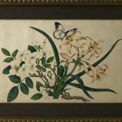 """19th Century Chinese Export Watercolor on Mulberry Pith Paper """"Flowers & Butterfly"""""""