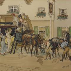 "English Chromolithograph ""Carriage Scene"""