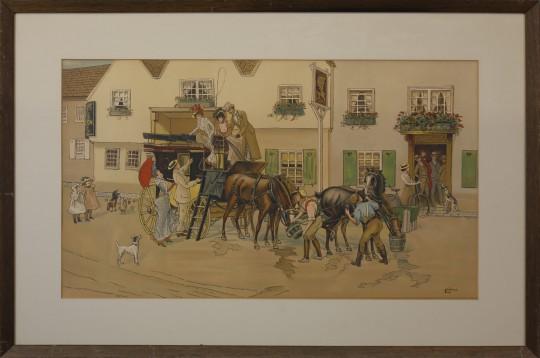 "Framed English Chromolithograph ""Carriage Scene"""