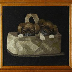 """19th Century Embroidered Picture """"Two Puppies in a Basket"""""""