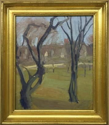 """Margaret Jordan Patterson Oil on Artist's Board """"Trees"""""""