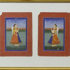 Set of 12 Antique Indian Watercolors in Two Gilt Frames