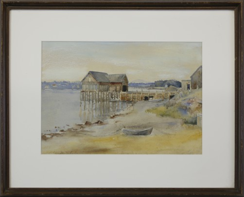 "Sophia Marie Alstrom Mitchell Watercolor on Paper ""Still Dock Inlet"""