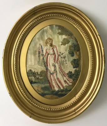 Early 19th Century English Silkwork of a Lady in a Country Landscape