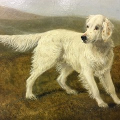 """19th Century Oil on Canvas """"Two Hunting Retrievers"""""""