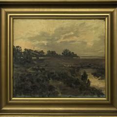 "Turn of The Century Dutch Oil on Canvas ""Marsh Landscape"""