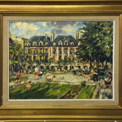 "Mikael Gilbot Oil on Artist's Board ""Park Scene"""