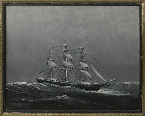 "Monochrome Oil on Canvas ""Three-Masted Schooner in Rough Seas"""