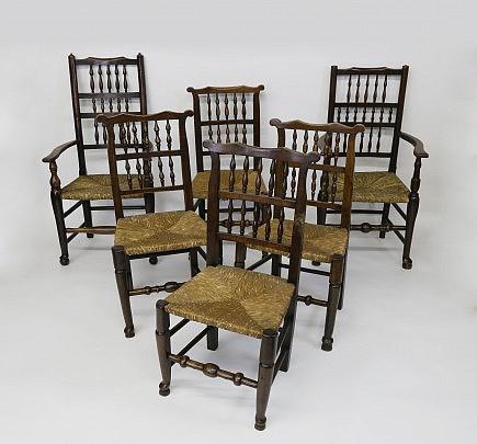Harlequin Set of Six Lancashire Spindleback Dining Chairs