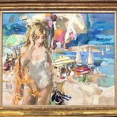 Bassford Oil on Canvas Cape Cod Swim