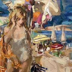 "Wallace Bassford Oil on Canvas ""Mood Picture Cape Cod Swim"""