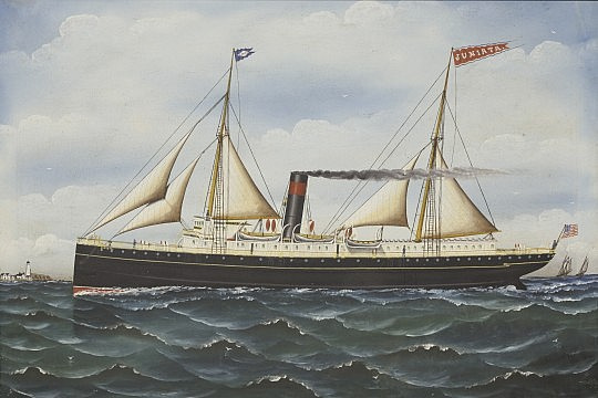 "Folk Art Oil on Canvas ""Portrait of the Steamsail Ship Juniata"" in filigree frame"