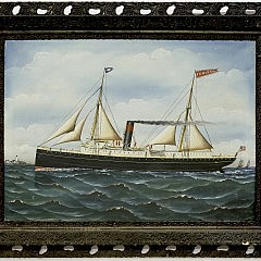 "Folk Art Oil on Canvas ""Portrait of the Steamsail Ship Juniata"""