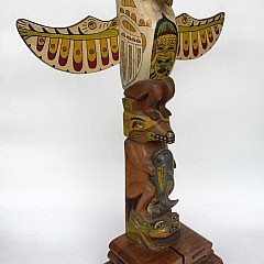 Northwest Coast Totem Pole Figurative Sculpture by Ray Nahanee