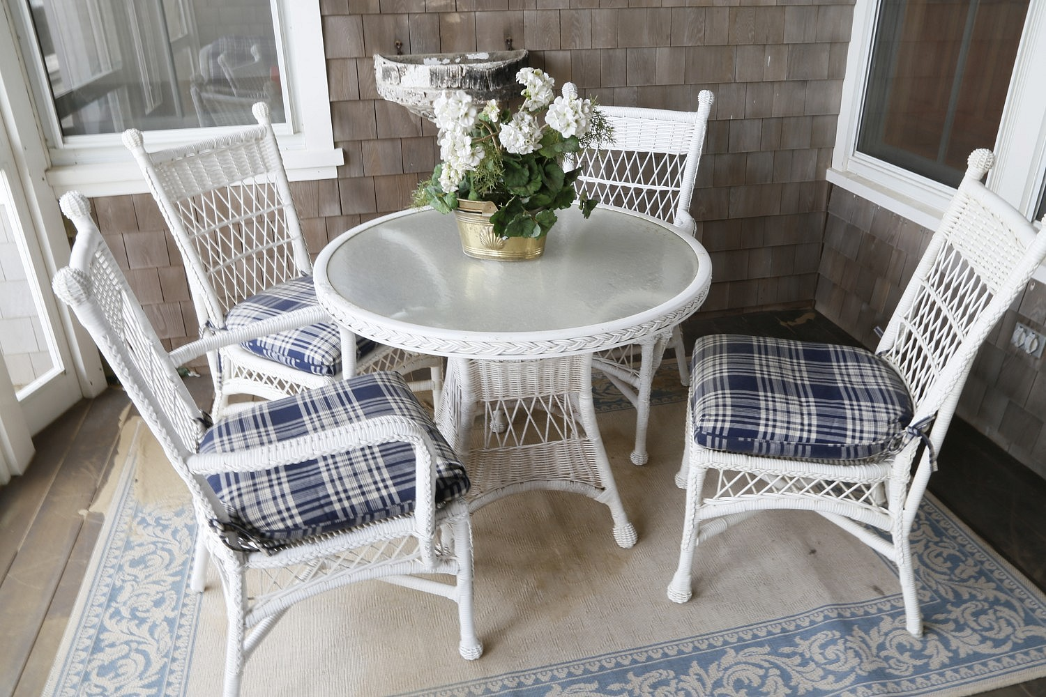 Wicker   White Wicker Glass Top Dinette Table and Four Chairs ...
