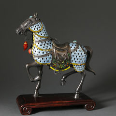 Chinese Silver and Polychrome Enameled Model of a Caparisoned Horse