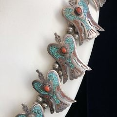 "M. Ortega ""HMIJ"" Sterling Silver Turquoise and Coral Chip Inlaid Peyote Bird Squash Blossom Necklace"