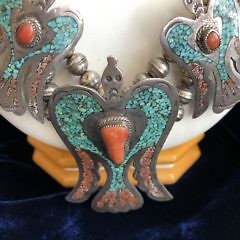 """M. Ortega """"HMIJ"""" Sterling Silver Turquoise and Coral Chip Inlaid Peyote Bird Squash Blossom Necklace"""