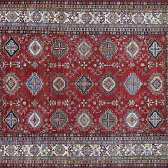25-4700 Red Super Kazak Geometric Design Oriental Rug
