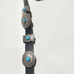 Signed Daniel Martinez Sterling Silver and Turquoise Hand Chased Concho Belt