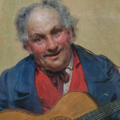 """Michele Garinei Oil on Canvas, """"Portrait of a Gentleman Playing the Guitar"""""""