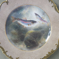 Pair of 19th Century French Limoge Hand Painted Fish Plates