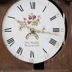English Oak Tall Case Clock By Robert Simpfon, Wirksworth, 19th Century