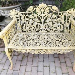 Pair of Vintage American Cast Iron Garden Benches