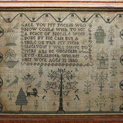 """English Sampler Table,  Elisabeth Walker, """"Her Work Aged 13 – 1820"""""""
