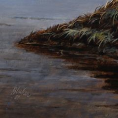 """Oil on Panel """"Two Geese on a Mound"""" signed Blaker"""