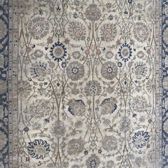 Hand Knotted Wool Blue and Creme Oriental Carpet