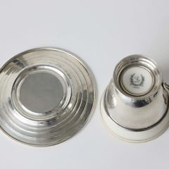 Assembled Set of 14 Sterling Silver and Porcelain Demi Tasse Cups and Saucers