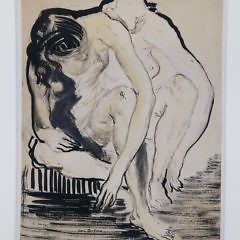 """Jon Corbino Pen and Gouache Drawing on Paper of Two Nudes, Inscribed """"To Jordan Masse – Christmas 1945"""""""