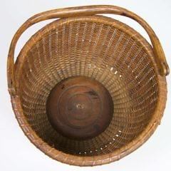 Antique Round Open Swing Handle Nantucket Basket