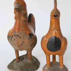 Two Chinese Export Ceramic Roof Roosters, 19th Century