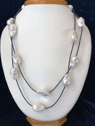 40850 White Fresh Water Baroque Spinel Necklace A IMG_1283