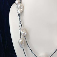 18mm x 22mm White Baroque Fresh Water Pearl Spinel Necklace