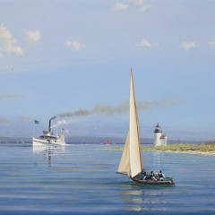"""Tim Thompson Oil on Canvas """"Summer in the  Sound – Steamer Nantucket Passing Brant Point Lighthouse"""""""
