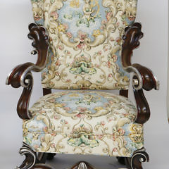 Pair of Venetian Style Seashell and Nautical Upholstered Open Armchairs